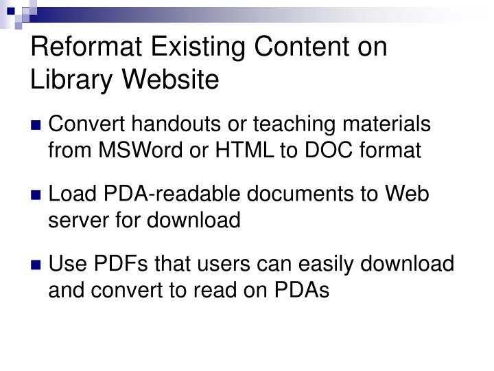 Reformat Existing Content on Library Website