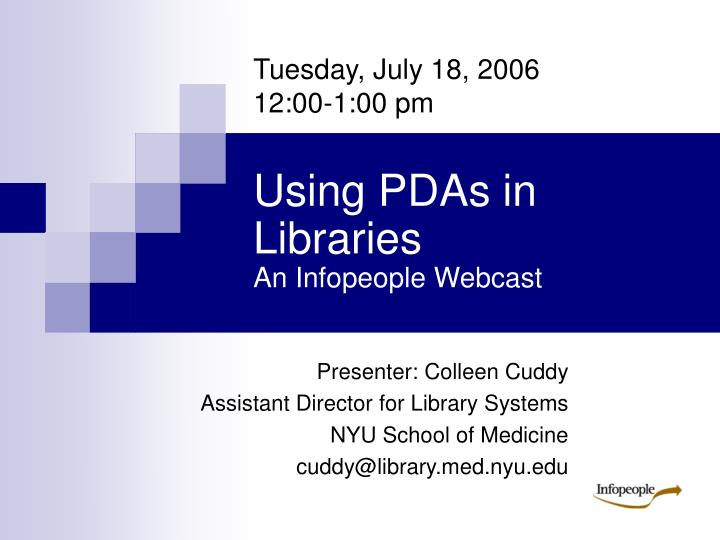 Using pdas in libraries an infopeople webcast