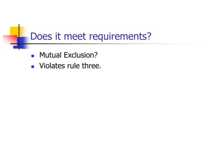 Does it meet requirements?