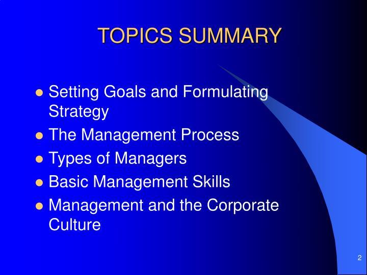 Topics summary