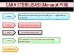 cara sterilisasi menurut fi iii