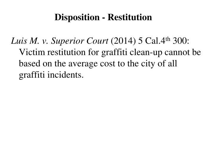 Disposition - Restitution