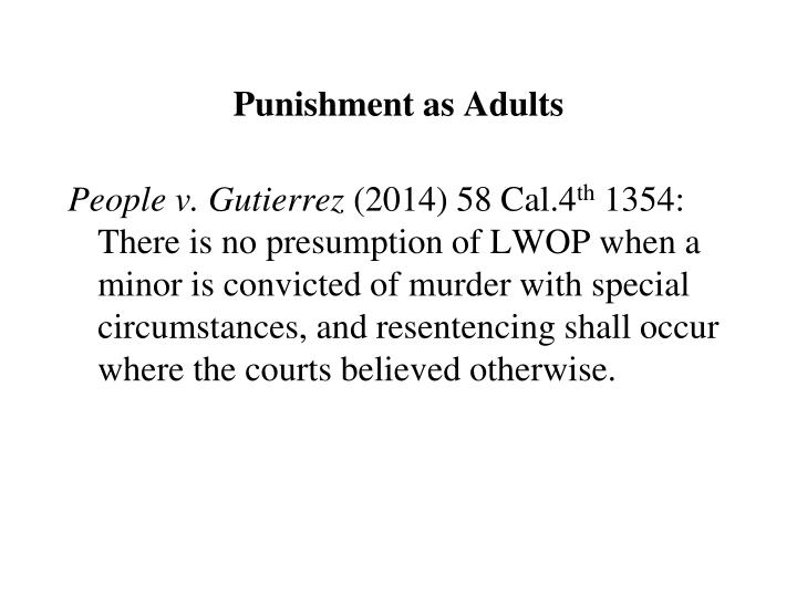 Punishment as Adults