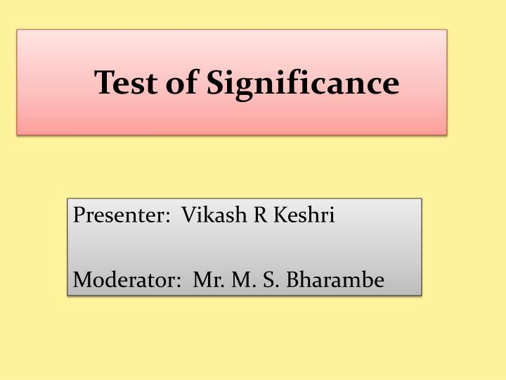 test of significance n.