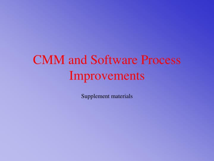 cmm and software process improvements n.