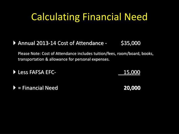 Calculating Financial Need