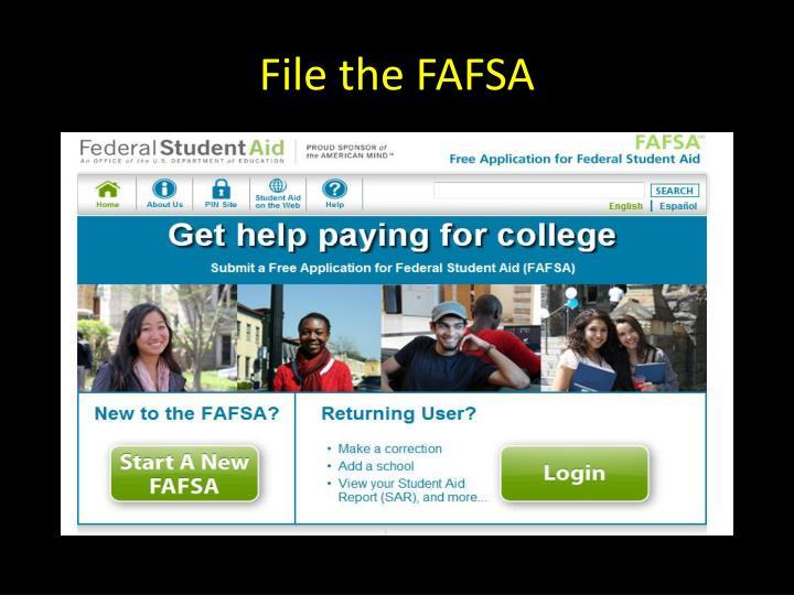 File the FAFSA
