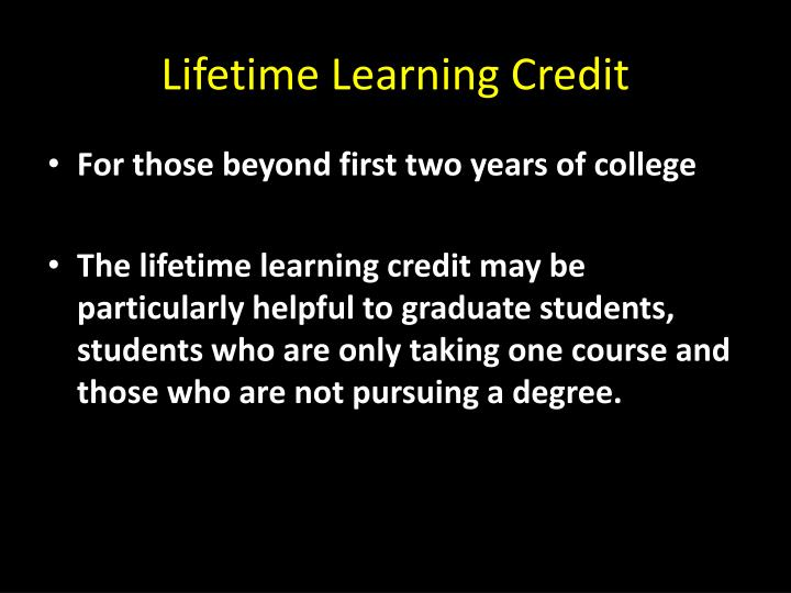 Lifetime Learning Credit