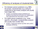 efficiency of analyses of clustered data