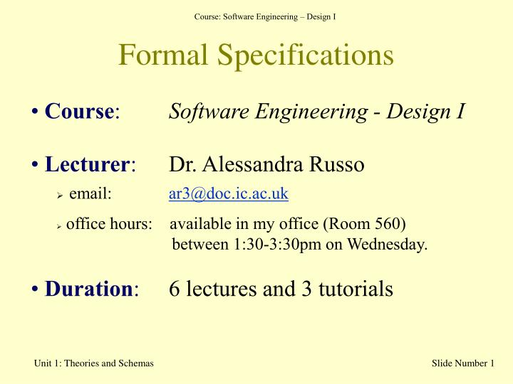formal specifications n.