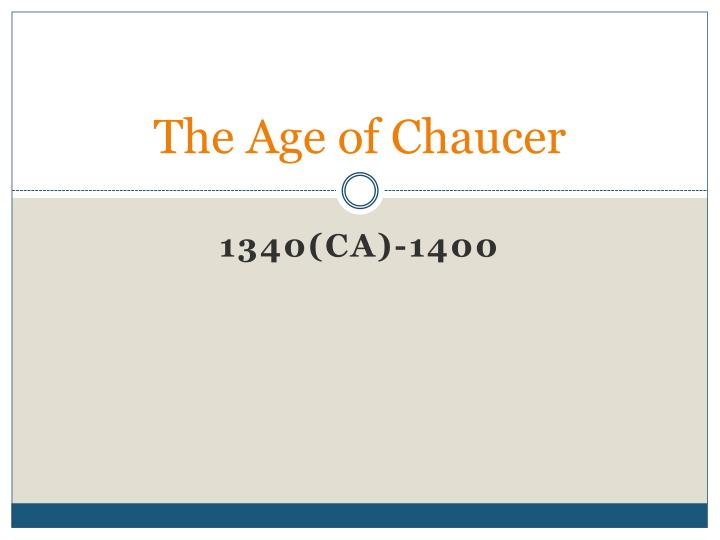 the age of chaucer n.