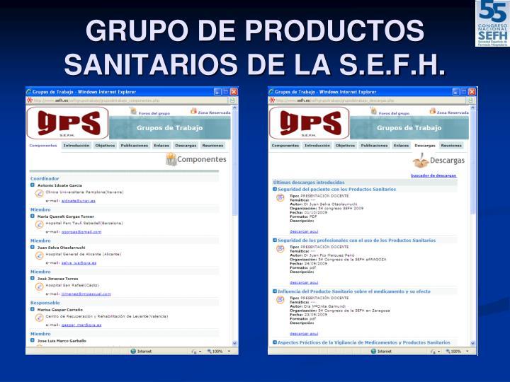 Grupo de productos sanitarios de la s e f h1