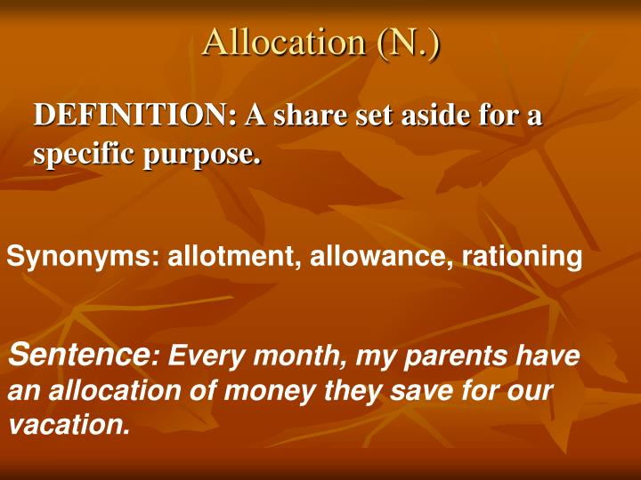 Allocation (N.)