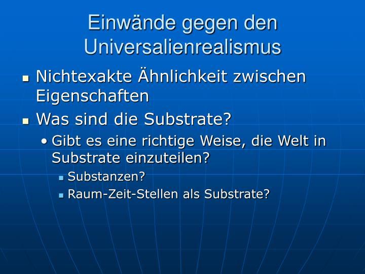 Einwände gegen den Universalienrealismus