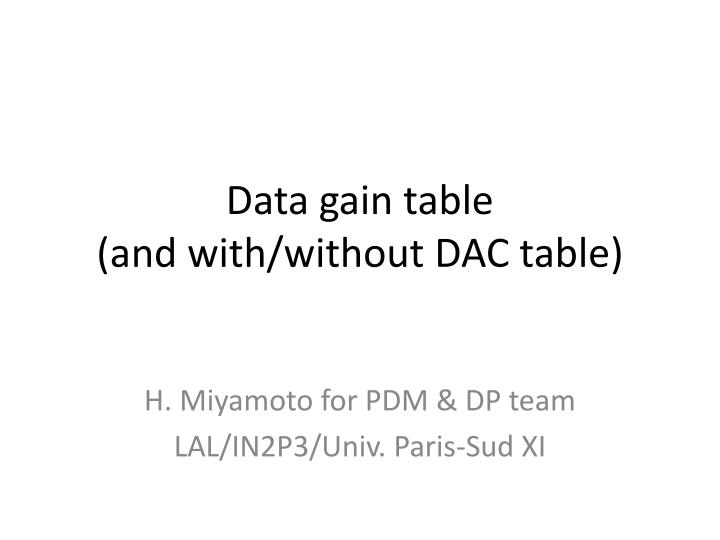 data gain table and with without dac table n.