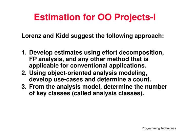 Estimation for OO Projects-I