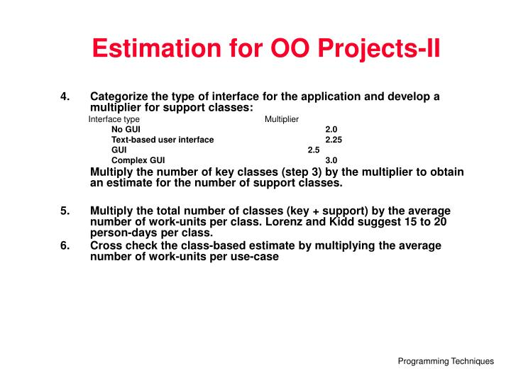 Estimation for OO Projects-II