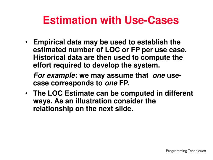 Estimation with Use-Cases