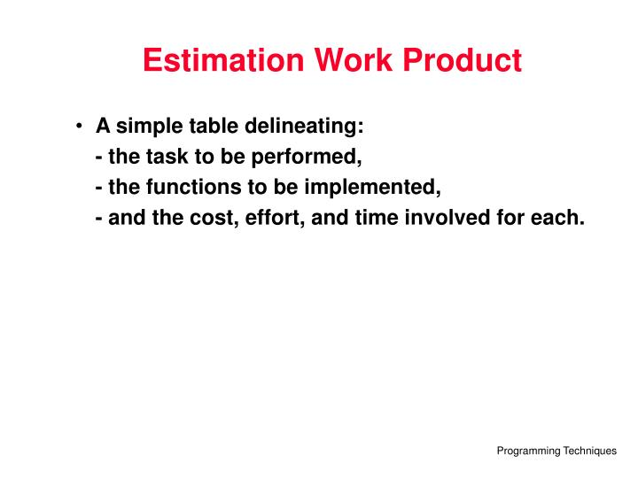Estimation Work Product