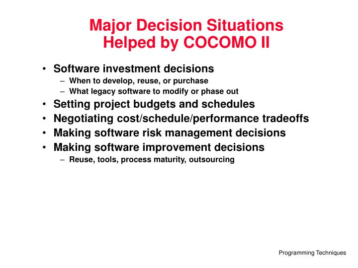 Major Decision Situations