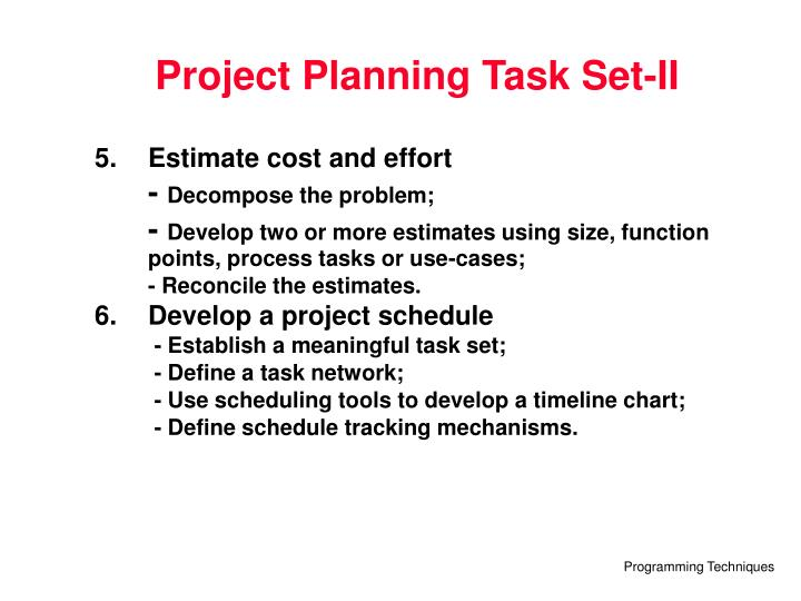 Project Planning Task Set-II