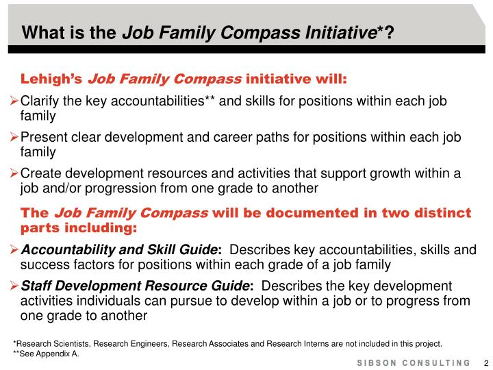 What is the job family compass initiative