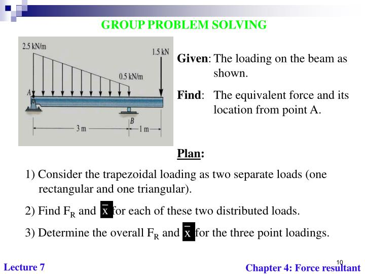 1) Consider the trapezoidal loading as two separate loads (one rectangular and one triangular).