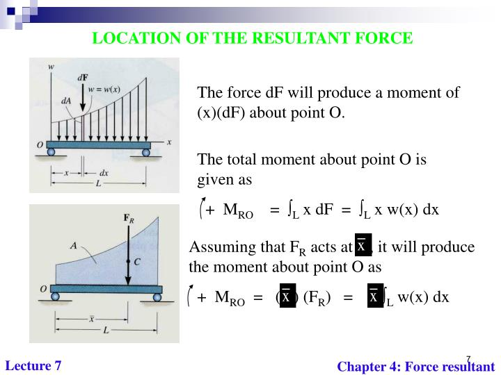 The total moment about point O is given as
