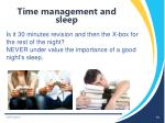 time management and sleep