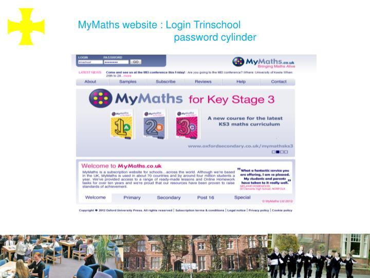 MyMaths website : Login Trinschool
