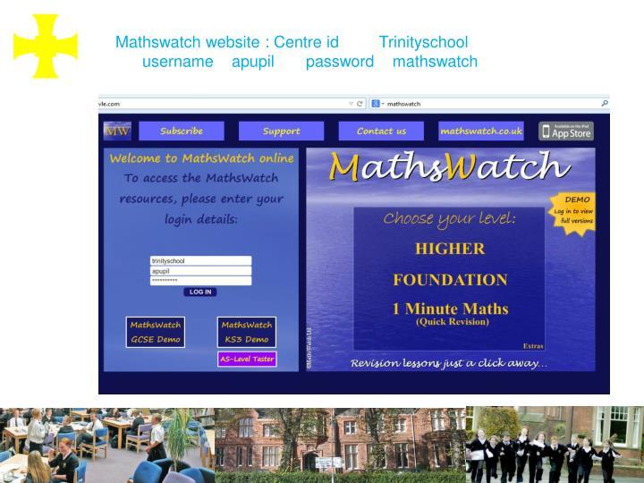 Mathswatch website : Centre id         Trinityschool