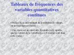 tableaux de fr quences des variables quantitatives continues