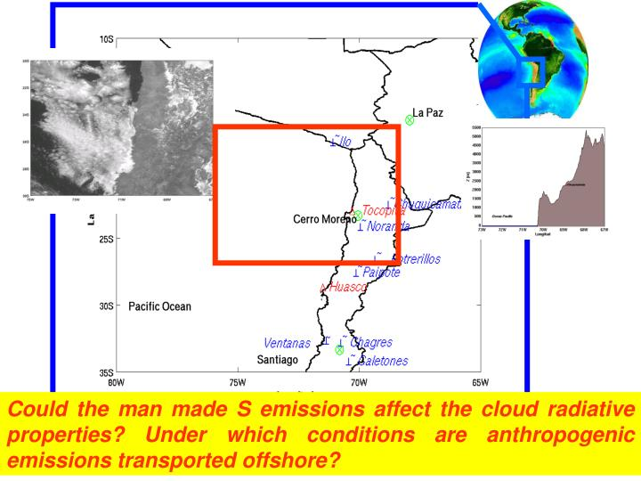 Could the man made S emissions affect the cloud radiative properties? Under which conditions are anthropogenic emissions transported offshore?