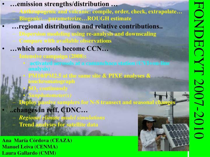 …emission strengths/distribution …