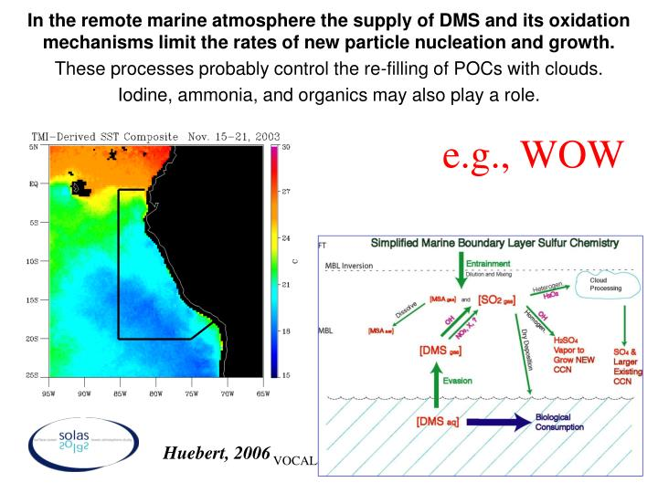 In the remote marine atmosphere the supply of DMS and its oxidation mechanisms limit the rates of new particle nucleation and growth.