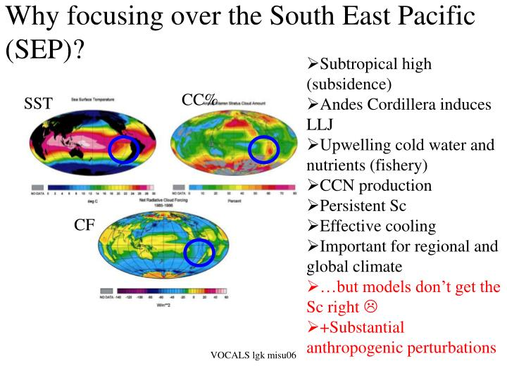 Why focusing over the south east pacific sep