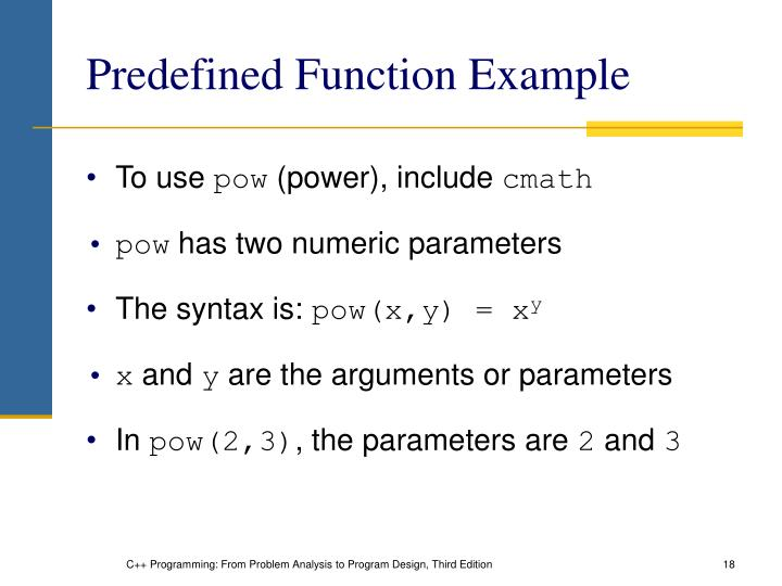 Predefined Function Example