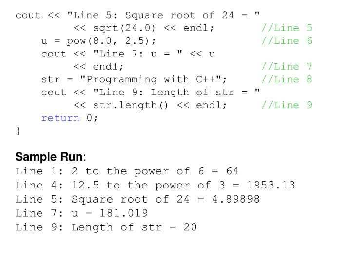 """cout << """"Line 5: Square root of 24 = """""""