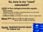 so how is my need calculated