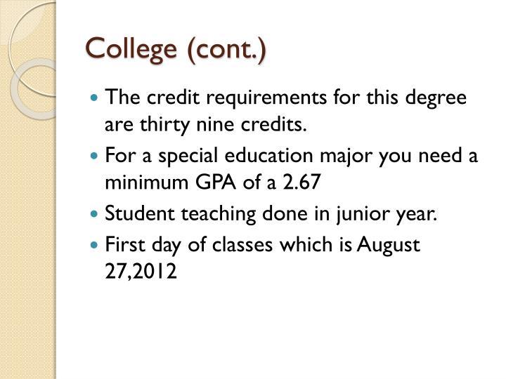 College (cont.)