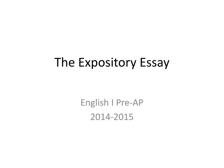 the expository essay n.