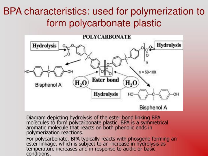 bpa characteristics used for polymerization to form polycarbonate plastic n.