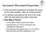 increment decrement expression