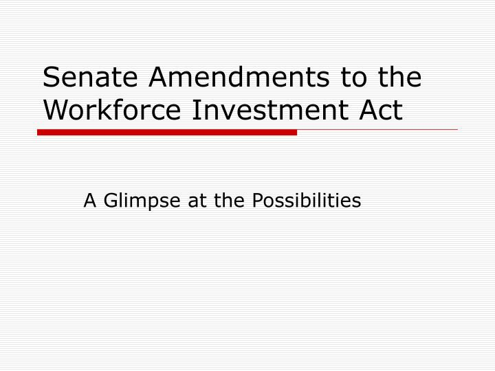 senate amendments to the workforce investment act n.