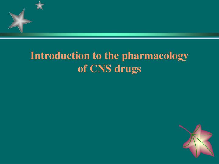 Introduction to the pharmacology
