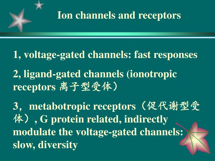 Ion channels and receptors