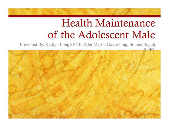health maintenance of the adolescent male n.