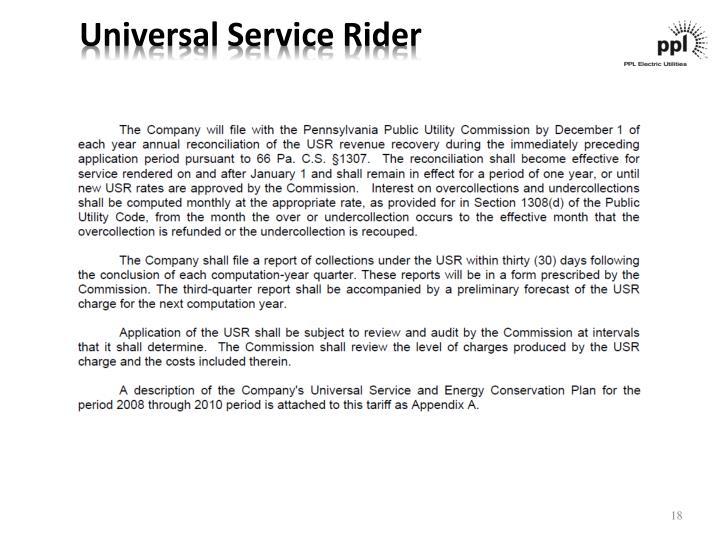 Universal Service Rider