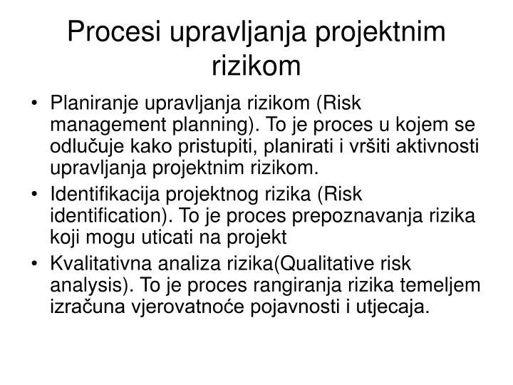 Procesi upravljanja projektnim rizikom