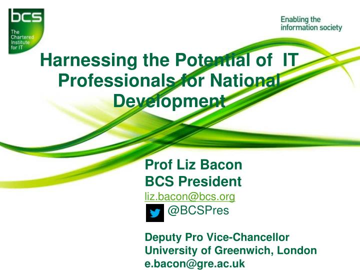 harnessing the p otential of it professionals for national development n.